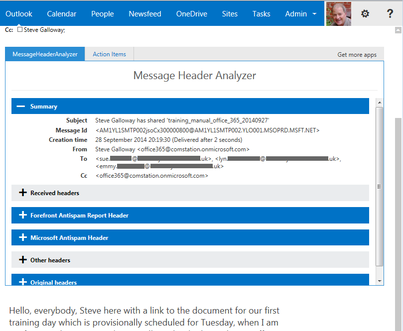 The Message Header Analyzer for OWA is a fully specified tool for examining various header types not normally available. This imge shows the summary header.