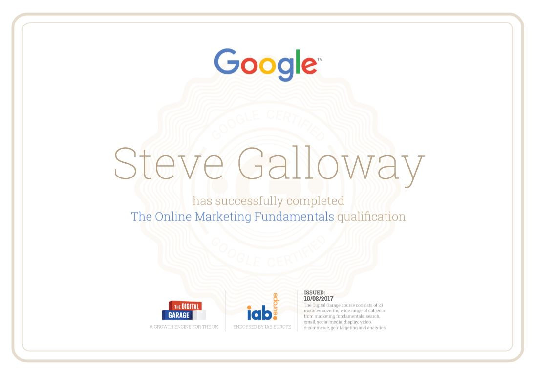 Google Online Marketing Fundamentals Certificate