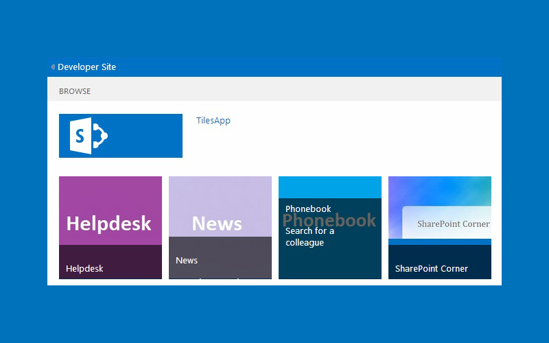 Adding a Tile to Sharepoint home page
