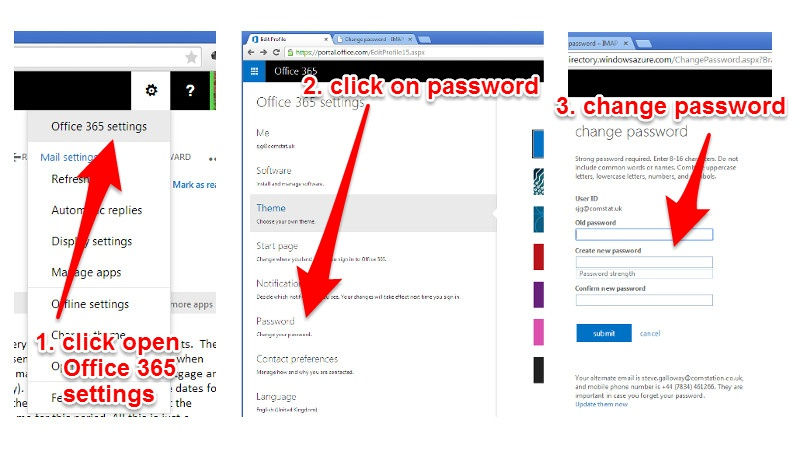 screenshots for changing your password