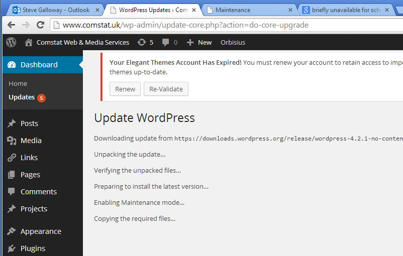wordpress update error