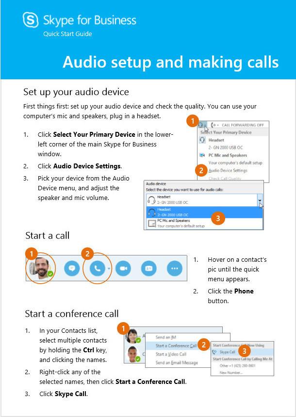 audio setup and calls